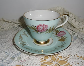 Vintage Cup and Saucer - Royal Sutherland Bone China, Aqua with Pink Rose Gold Leaf, Gold Trim, Made in England, Shower Gift, Mother's Day