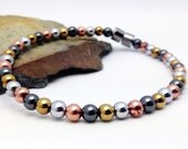 Multicolor Silver Gold Solid Copper & Black Hematite Magnetic Therapy Anklet Super High Power Wellness Health FREE gift card