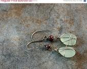 40% OFF SALE sea glass and Czech glass drop earrings in sterling silver