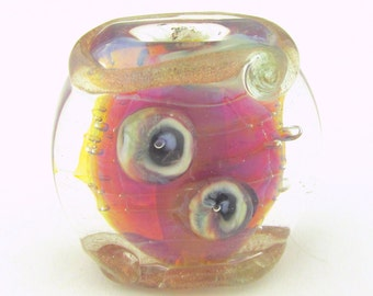 Handmade Lampwork Focal Bead by All Fired Up Studio ... Turbulence... SRA P111 ... 25 mm x 30 mm - LEteam