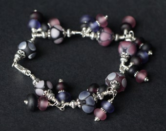 Beautiful Purple  Spring Summer Etched Glass Lampwork Beaded Sterling Silver Wire Wrap Bracelet