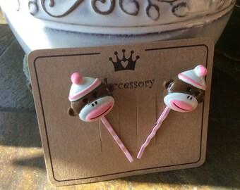 Pink Monkey bobby pins ~hair pins set of 2 on presentation card