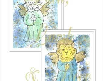 Praying Lion Angel and Praying Lamb Angel Note Cards with Envelopes - Physical Item