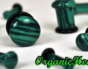 "Malachite Single Flare Stone Plugs 8g-1/2"" (Sold as Pair) Handmade Organic Body Jewelry Plugs (8g, 6g, 4g, 2g, 0g, 00g, 1/2"")"