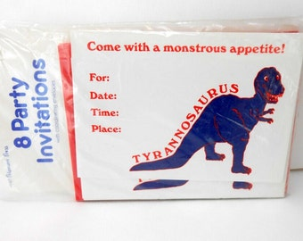 vintage party invitations dinosaur invitations tyrannosaurus party invitations new old stock 8 dinosaur invitations red white and blue