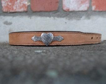 Vintage Belt Strap Womens Medium Size 30 Justin Durable Nubuck Leather Belt Strap Heart Studded Western Boho Hippie Native Aztec Hipster