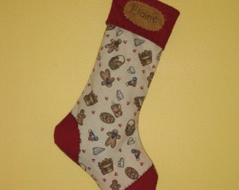 Personalized Gingerbread Man Christmas Stocking - Primitive - White Stocking with Gingerbread Men & Hearts with Maroon Toe,Cuff and Heel