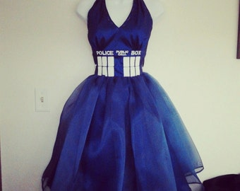 Blue Police Box dress with organza and embroidered details