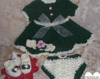 Crocheted Evergreen Dress Set 0-3 Months READY TO SHIP