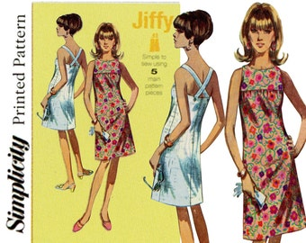 1960s Jiffy Dress Pattern Uncut Simplicity 1101 7071 Bare Back Criss Cross Straps Sundress Cocktail Shift Womens Vintage Sewing Patterns