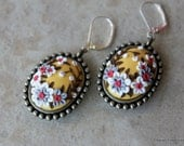 One of a kind Floral Polymer Clay Applique Earrings