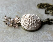 Polymer Clay Floral Applique Pendant Necklace with Swarovski Crystals