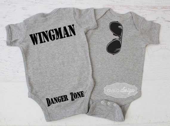 THE ORIGINAL Aviator Mirror Style Sunglasses bodysuit with Wingman and Danger Zone on the Bum pictured in Heather Grey Pick