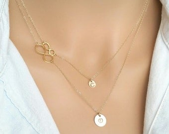 Mother and Daughter Infinity  Necklace, Gold Personalized Infinity Necklace, Tiny Gold Personalized Infinity Necklace, Monogram Necklace