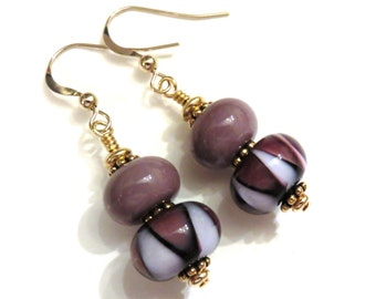 Purple Lampwork Earrings, Glass Earrings, Glass Bead Earrings, Beaded Earrings, Lampwork Jewelry, Purple Earrings
