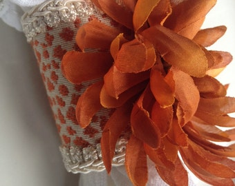 Handcrafted Rhinestone Napkin Rings Orange Rust Flower Jeweled Coral Cuffs Hand Crafted - #24