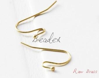 60 Pieces / Raw Brass / Brass Base / Earring Hooks (C448//S208)