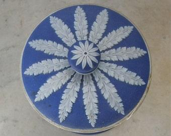"WEDGEWOOD LIDDED JAR White on Cobalt Blue Maidens Cherubs Trees Flower Spiral on Lid ""Made in England"" 1909-1930 ""As Found"""