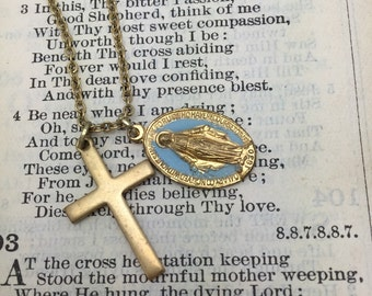 Religious Charm Necklace Vintage Necklace Cross Necklace
