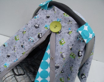 Car seat Canopy Flannel Owl Friends carseat cover / carseat canopy / car seat cover / nursing cover / accessories / owl flannel
