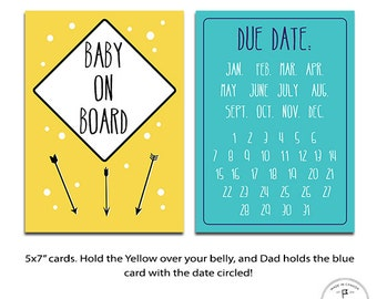 Pregnancy Announcement Photo Cards - 2 in a Set, Baby Photo Cards, Announce your Pregnancy, Instagram Photo Prop, Facebook Photo Props