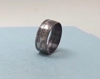 Silver coin ring Michigan State quarter year 2004 size 8 1/2,  jewelry unique  gift FREE SHIPPING