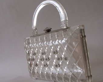 50's Carved Lucite Purse with Rhinestones ~ Bride's Bag ~ Wedding