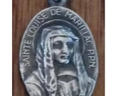"""SAINT LOUISE de MARILLAC Nurse Nun Sisters of Charity Vintage Silver Religious Medal Pendant by A. Reimon on 18"""" sterling rolo chain"""
