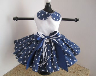 Dog Dress Navy With White  Polka Dots and Collar