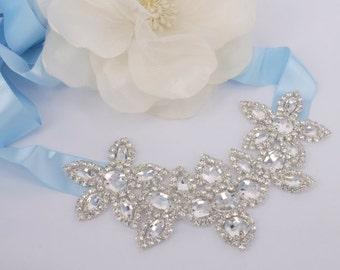 Gloria - Glamorous Rhinestone and Ribbon Wedding Headband or Sash