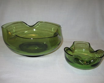 Anchor Hocking Avocado Color Glass Co Chip & Dip Bowls Green 1960