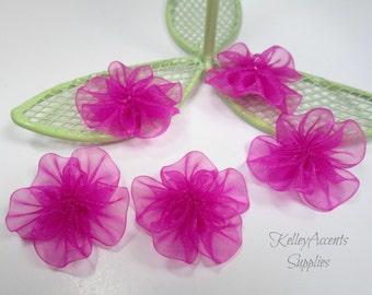 Fuchsia Organza Ribbon Flowers / Pink Organza Ribbon Flowers