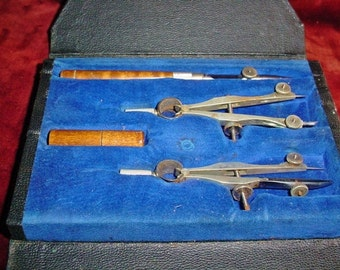 Two Sets Vintage Drafting Tools Tacro and Noris Compass Pencil extras in Case Cases