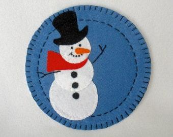 Felt Christmas Cookie Plate,  Felt Snowman Plate, Handmade Cookies For Santa Decor