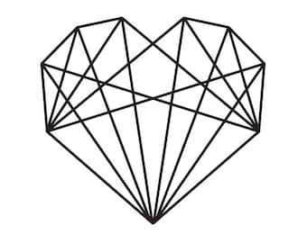 Modern Geometric Heart illustration Rubber Stamp Wodden Handle