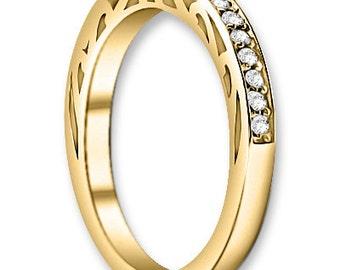 14K White / Yellow / Rose  Gold  Natural Round Diamond Wedding Band  Aniversary Ring ENS4293