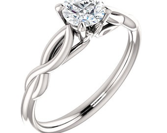 5mm Round 0.50 ct Forever one Moissanite(near colorless) 14K White Gold Engagement Ring  Gem1148
