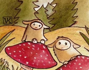 Forest Creatures Mushroom ACEO Mini Art Print
