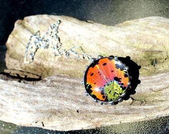Madagascan Sunset Moth Pendant, Bubble Butterfly, Domed Moth Wing Pendant, Moth Wing Necklace