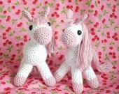 Amigurumi Crochet Pony. Baby pink and white yarn. Baby Girl baby shower, girls christening gift, baby gift, baby girl nursery decor