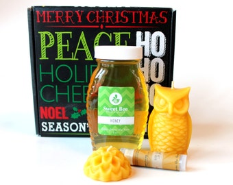 Honey & Beeswax Candle Gift Set - 8 oz honey, owl beeswax candle, flower beeswax candle, lip balm