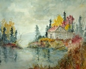 Fine Art Print of original watercolor painting, 11x14, watercolor landscape, autumn landscape, woodland painting, fall painting, lake cabin.