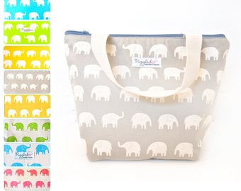 Extra-Large Insulated Tote-Style Lunch Bag with Waterproof Lining - Elephant (Choose Your Color)