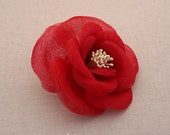 Red Bridal Hair Flower, Red Bridal Hair Clip, Red Bridal Hairpin, Red Bridal Hair Comb, Red Bridal Hair Accessory, Red Bridal Headpiece