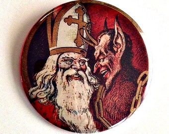 "Krampus and St. Nick - Large 2.5"" Pin Back Button"