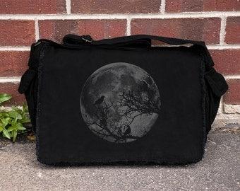 Ravens and Moon - Messenger Bag - Black Canvas Over The Shoulder Messenger Bag