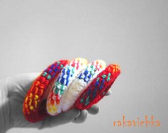 Martenitza Set of 2 Bracelets. Multicolored Tunisian Crochet Jewelry. Baba Marta Fiber Art. Red White Rainbow Martenitsa by dodofit on Etsy