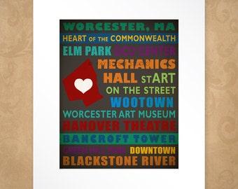 Worcester Massachusetts Art Print, 8x10 Art Print, Matted to 11x14