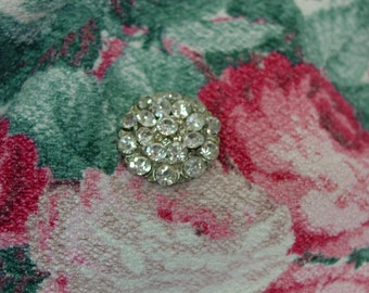 "Large Vintage Rhinestone Button, 1 1/4"" of Glitz and Glam"