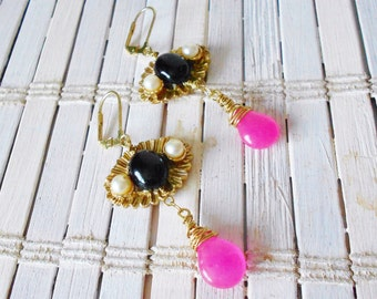 Black Onyx & Pink Candy Jade Wire Wrapped Dangle Earrings, Upcycled Vintage, Gold and Pearls, OOAK